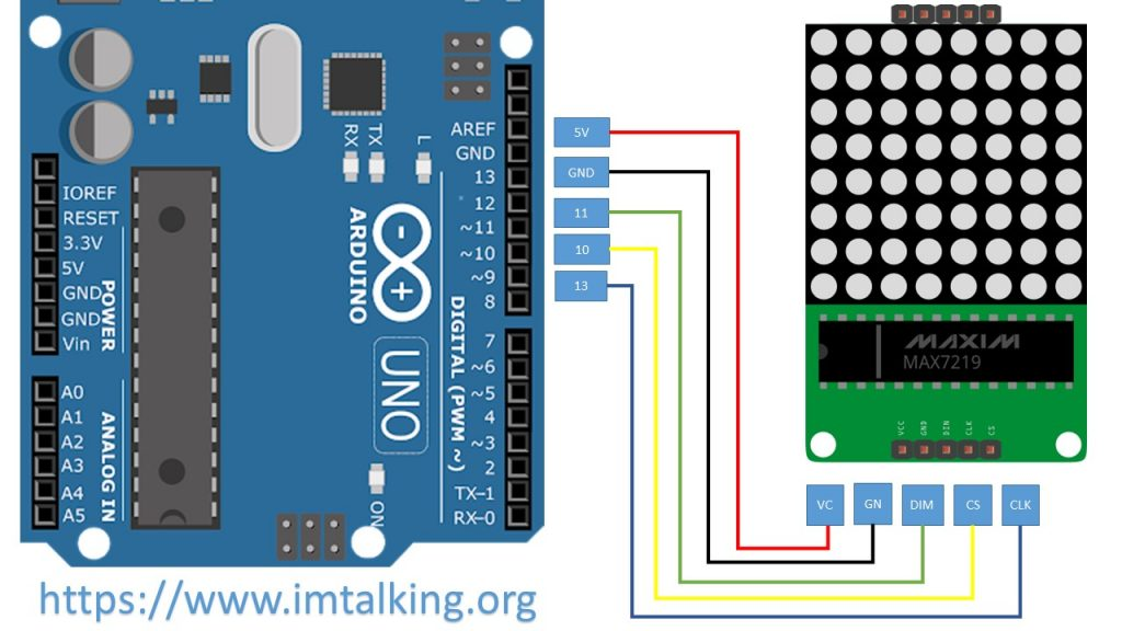 arduino 8x8 led matrix scrolling text (CIRCUIT SCHEMATIC)